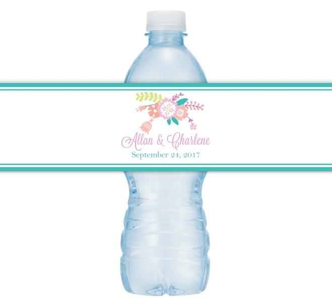 Pastel Floral Wedding Water Bottle Labels 208-WBL