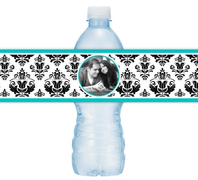 Damask Photo Wedding Water Bottle Labels 210-WBL