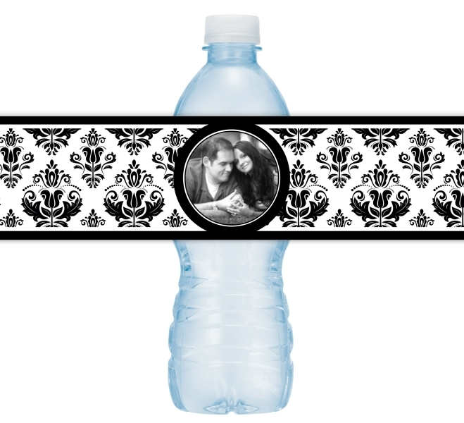 Damask Photo Wedding Water Bottle Labels 211-WBL