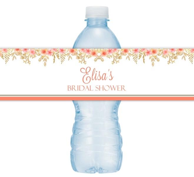 Gold Floral Wedding Water Bottle Labels 216-WBL