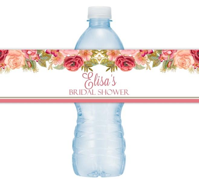 Rose Gold Floral Wedding Water Bottle Labels 217-WBL