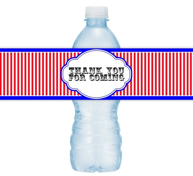 Carnival Circus Themed Thank You Water Bottle Labels 401-WBL