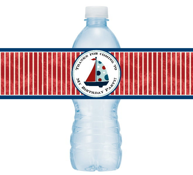 Nautical Birthday Water Bottle Labels 402-WBL