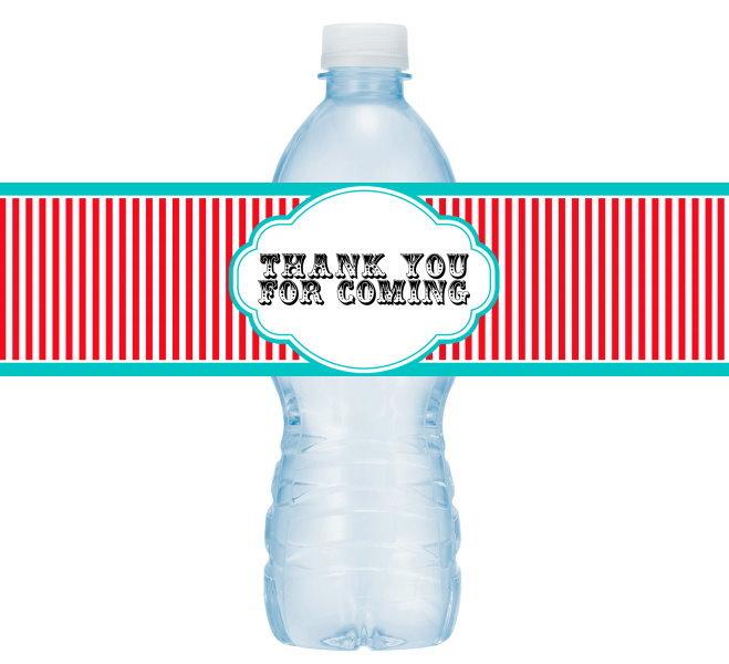 Carnival Circus Theme Thank You Water Bottle Labels 403-WBL