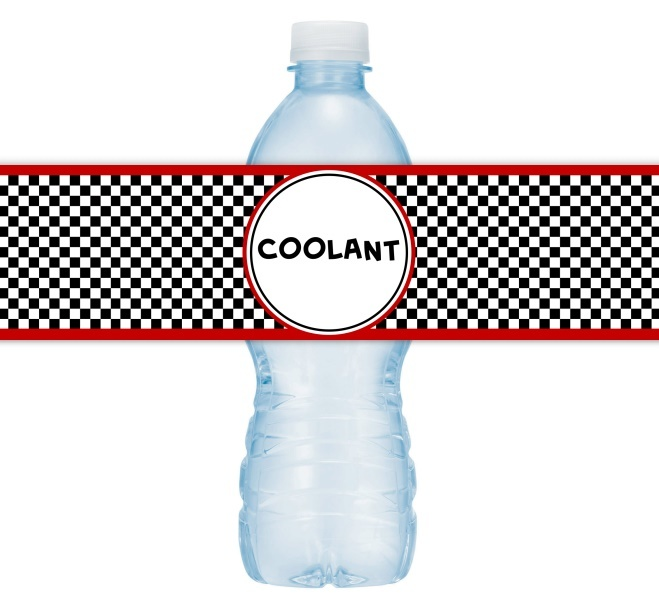 "Car ""Coolant"" Birthday Water Bottle Labels 404-WBL"