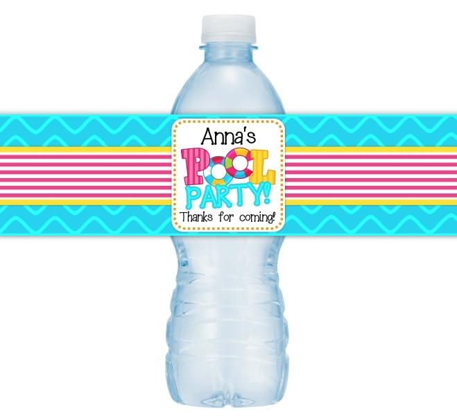 Pool Party Birthday Water Bottle Labels 407-WBL