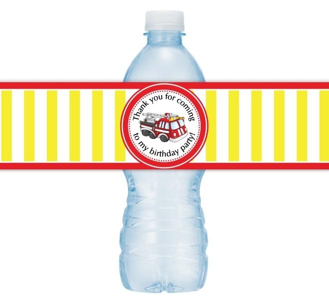 Fire Truck Birthday Water Bottle Labels 408-WBL