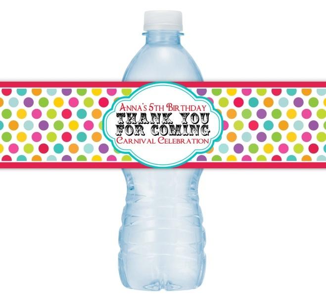Custom Carnival Water Bottle Labels 409-WBL