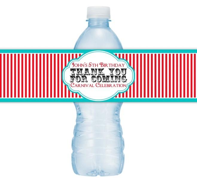 Custom Carnival Red Stripe Water Bottle Labels 410-WBL