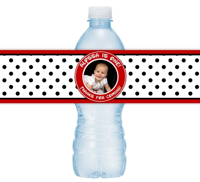 Red and Black Polka Dot 1st Birthday Water Bottle Labels 411-WBL