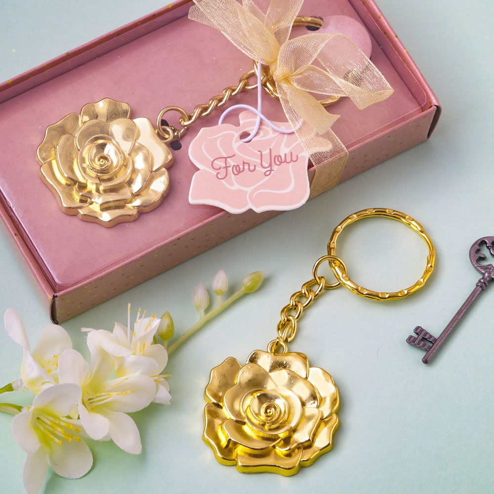 Gold Rose Keychain Favor 325-UNIQUE