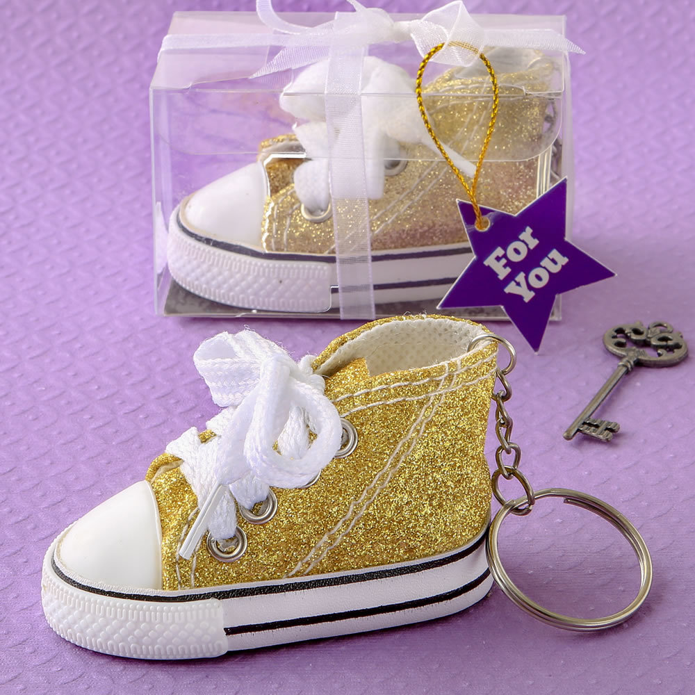 Authentic Canvas Mini Sneaker In The Classic Hi-Top Shape With A Sparkle Gold Glitter Design 242-BABYGOLD