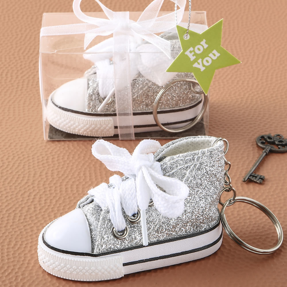Authentic Canvas Mini Sneaker In The Classic Hi-Top Shape With A Sparkle Silver Glitter Design 242-BABYSILVER