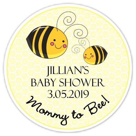 Mommy to Bee Baby Shower Stickers - 2 inch round 250-sticker