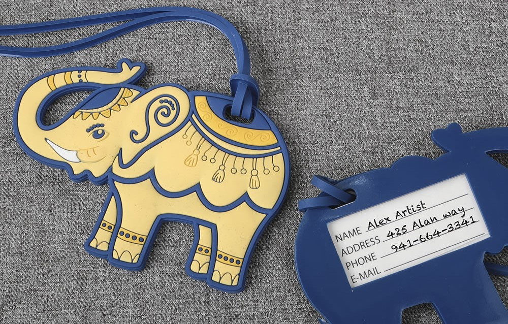 Blue and Cream Elephant Luggage Tags 112LTB-IF