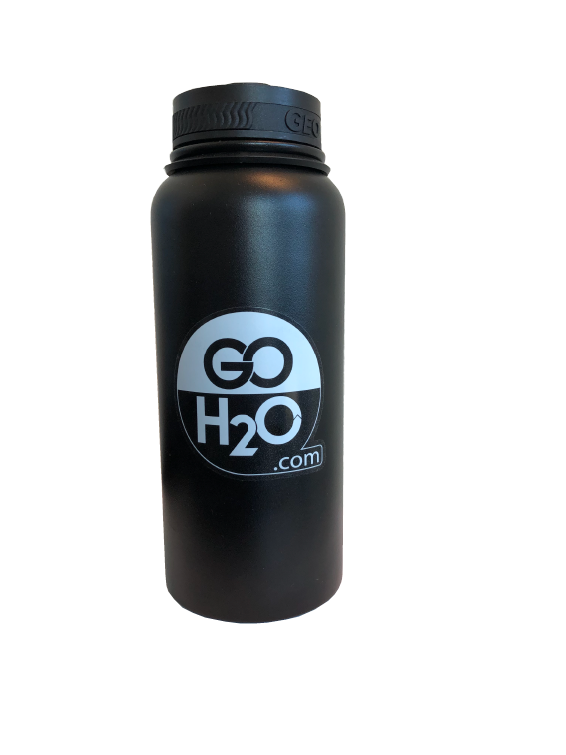Black, 32oz Stainless Steel Reusable Water Bottle.