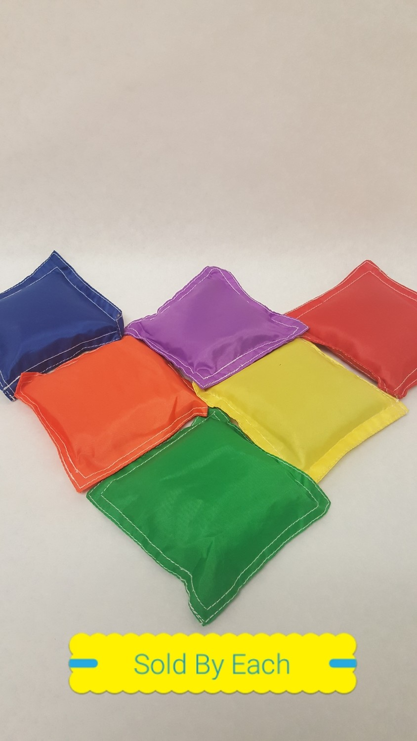 "Bean Bags, Tough Cloth Cover 6""x 6"", non-vegetable fill, assorted colors"