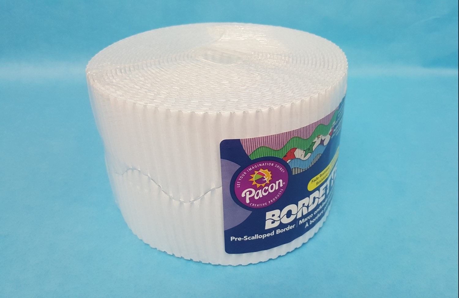 "Bordette, White, Pre-Scalloped border 2 1/4"" x 50' rolls"