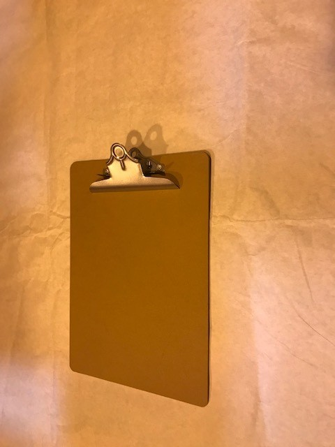 """Clip Board, Letter Size, Brown, Hardboard, 1/8"""" thick, smooth both sides, Nickel clip, All Matic."""