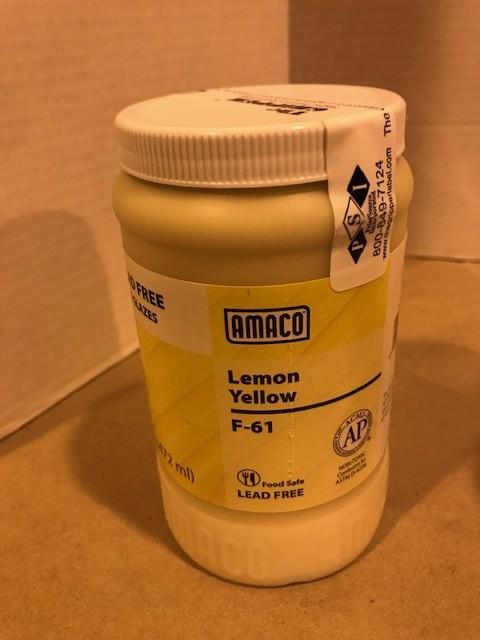 Glaze, Lemon Yellow, Liquid Glaze Ceramic fires 05/06, 1 pint container