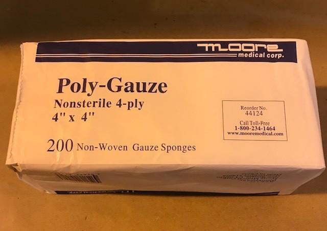 """Gauze pad, 4"""" x 4"""" 12 Ply, Non-Sterile, 200/Box"""