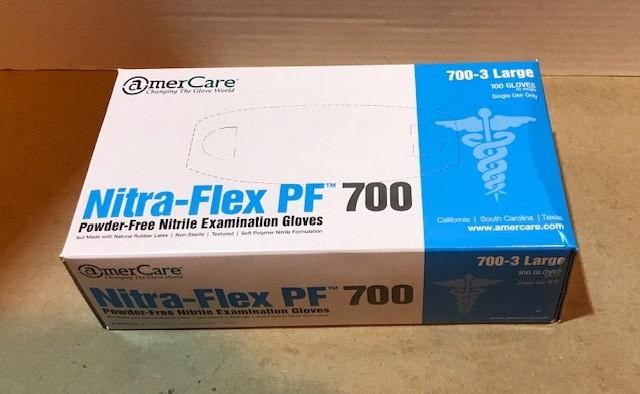 Gloves, Exam, Nitrile, Size Large, Non-Sterile Disposable, Hypo-Allergenic, Latex free, Powder free, 100/Box.