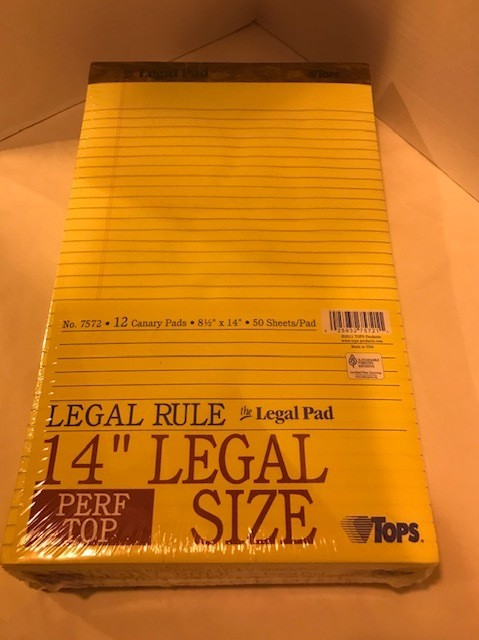 Pads, Legal size, Legal Ruled, Yellow, head strip style with clipboard backing, Perforated sheets, 50 sheets/pad, 12/pack