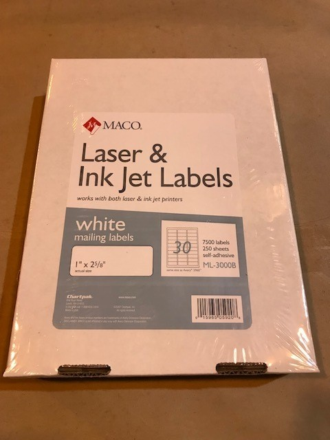 "Labels, Address, 1"" x 2-5/8"", White, E-Z Peel, Self-Adhesive, 7500 labrls/box, 250 sheets, 30 labels/sheet for use in Laser Printers"