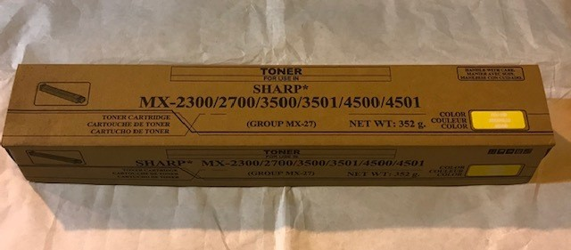 TONER, YELLOW, SHARP COPIER MX-2700/3501 SERIES COPIERS MX27NTYA