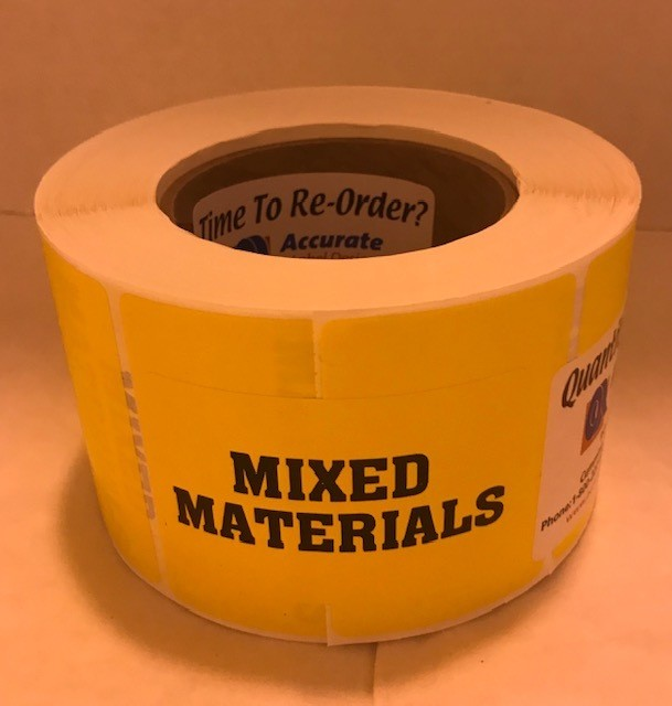 "Labels, Shipping, Mixed Materials, 3"" x 2"" Yellow, 1000/roll, 7 rl/case"