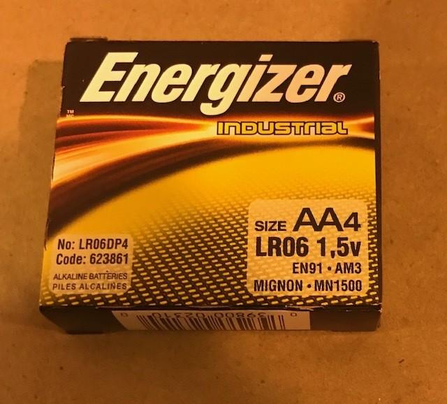 "Battery, Size ""AA"", Alkaline, 1.5 Volt, 4 Batteries Per Pack"