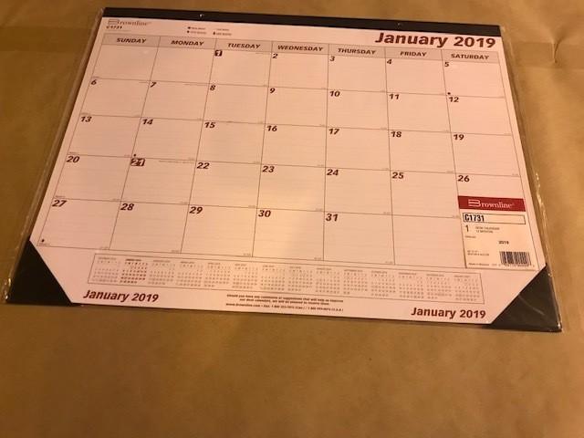 "Calendar, Desk Pad, 17"" X 22"" JANUARY 2019 - DECEMBER 2019"