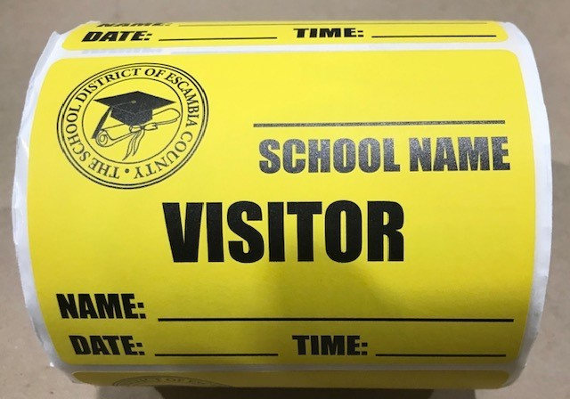 """Badge, Visitor Pass, 4"""" x 3"""" 1000/roll Yellow Background"""