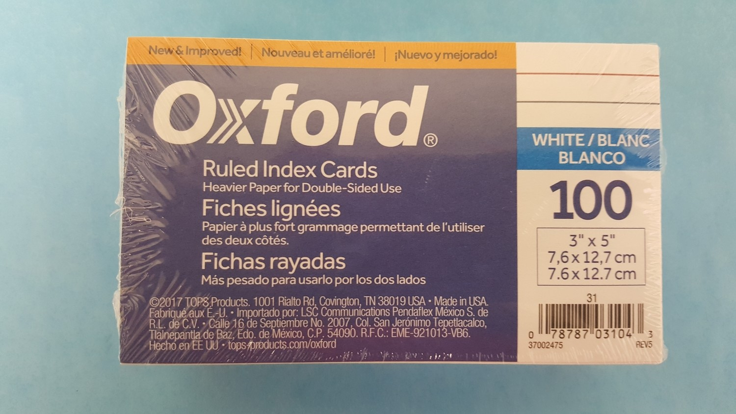"Index Card, 3"" X 5"" White, Ruled 100/Pack"