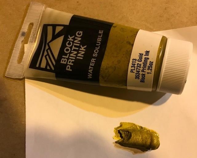"Ink-Block Printing, Gold water base, 1"" x 4"" tube, 1.25 oz"