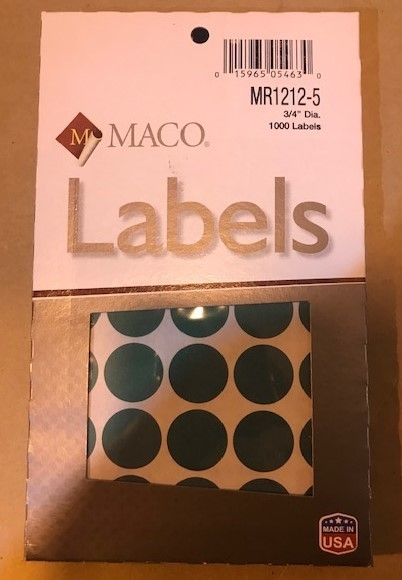 "Label, Dot, Green, 3/4"" diameter, 1000/Box"