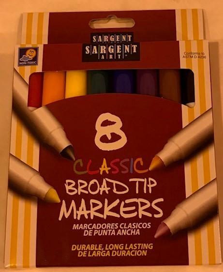 Marker set, felt-tip, chisel or bullet, style, 8 color per set