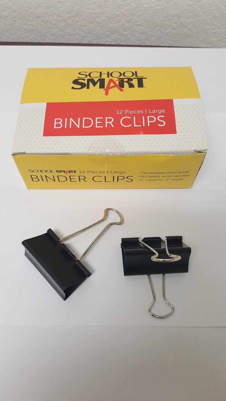 Paper Clips, Binder Clips, Large, Black/Silver, Size #10