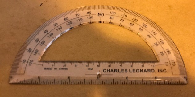 """Protractor, 6"""" Plastic, two (2) rows of calibrations"""