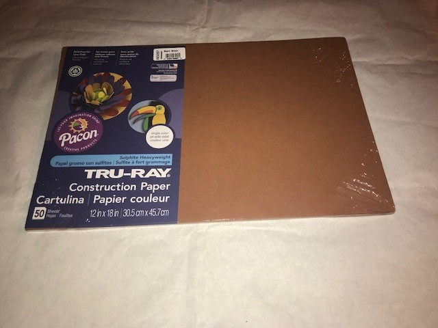 """Paper, Warm Brown, Construction, 12""""x18"""", 80#, 100% Vat Dyed Sulphite, 50sheets/package"""