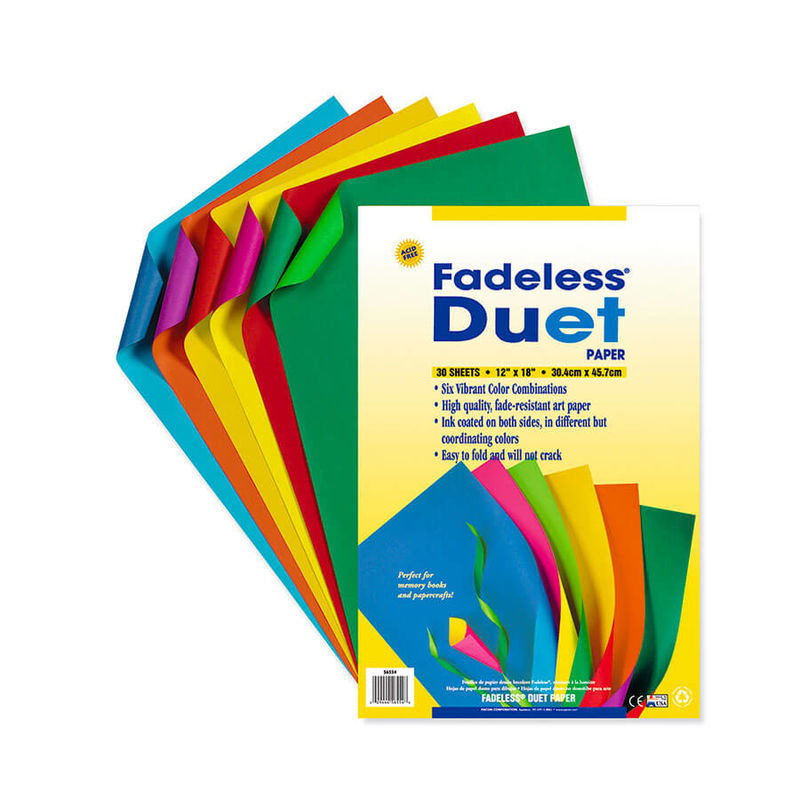 """Paper, Fadeless, Duet, 12""""x18"""", Containing six (6) assorted colors per package, 30 sheets/package"""