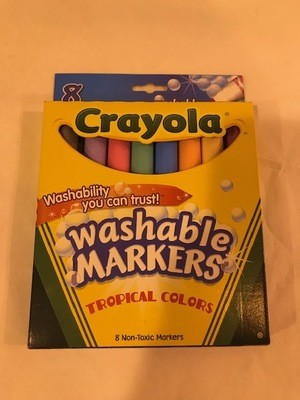 Markers, Drawing, conical tip-8 tropical colors/bx, washable. 24 each per case