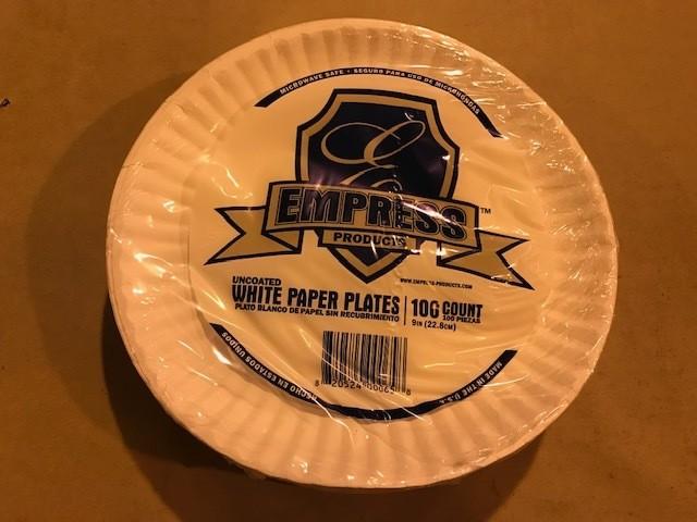 "Paper Plates, 9"" Plain, White: Paper plates, uncoated, 9"", plain, white, 100/pk."