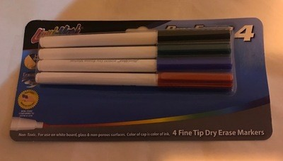 Markers, Dry Erasable, Fine Point, for Dry White Board, 4 color/sets