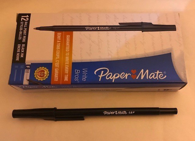 Pen, Black, Fine Ball Point, stick W/clip cap