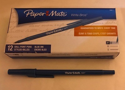 Pen, Blue, Fine Ball Point, stick W/clip cap