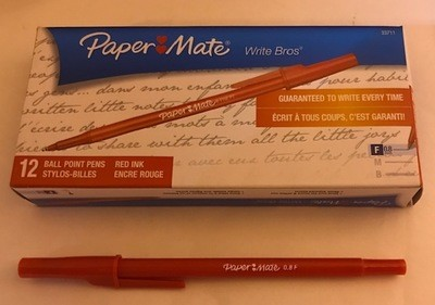 Pen, Red, Fine Ball Point, stick W/clip cap