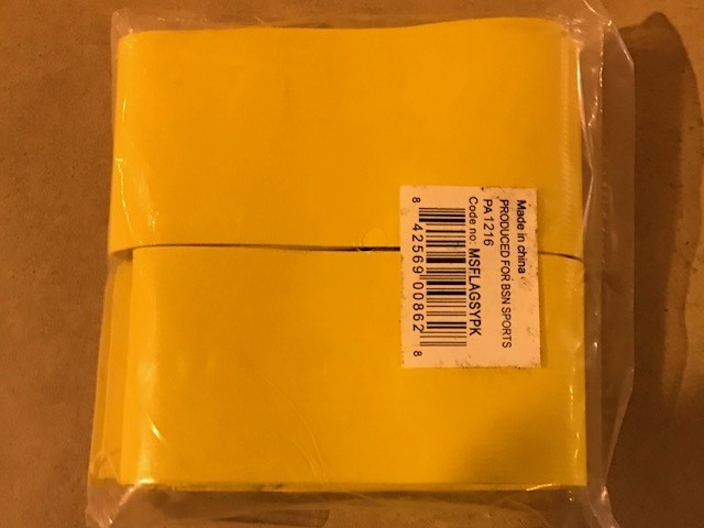 Flag, Football, yellow Vinyl Coated, six (6) per pack, for use with Item 0175066