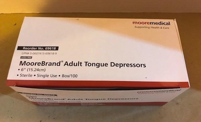 """Tongue Blades, Sterile, 6"""" x 3/4"""" 100/Box (Individually Wrapped)"""