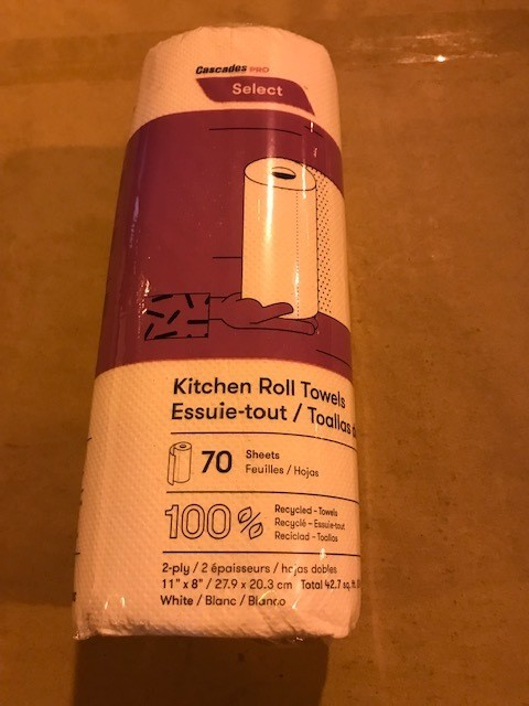 """Towels, Paper roll, 2-ply, kitchen type, 11"""" x 9"""", 85 sheets or more per roll, 30 rolls/case."""